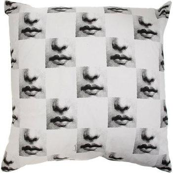 Pillows - Fornasetti Theme & Variations 24 Pillow I Barneys.com - fornasetti pillow, face mosaic pillow, fornasetti face pillow,