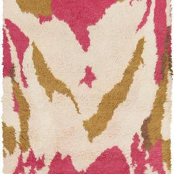 Rugs - Liona Cream & Hot Pink Rug design by Peter Som I Burke Decor - pink and gold rug, pink and gold abstract rug, modern pink and gold rug,
