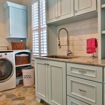 Blue Cabinets, Transitional, laundry room, Sherwin Williams Aviary Blue, Stacye Love