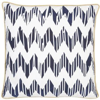 Pillows - Chevron Navy Pillow design by Allem Studio I Burke Decor - navy chevron pillow, chevron pillow with gold trim, navy and white chevron pillow,