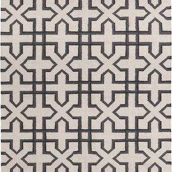 Rugs - Lima Collection Hand-Woven Area Rug by Chandra Rugs I Burke Decor - black and beige geometric rug, black geometric rug, black lattice work rug,