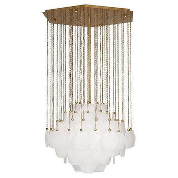Lighting - Jonathan Adler Vienna Chandelier I Burke Decor - brass and white glass chandelier, retro style brass and glass chandelier, antique brass and white glass chandelier, tiered white glass chandelier,