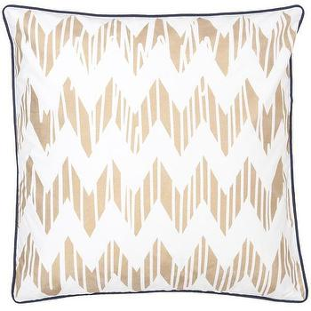 Pillows - Chevron Gold Pillow design by Allem Studio I Burke Decor - gold chevron pillow, gold chevron pillow with navy piping, gold and white chevron pillow,