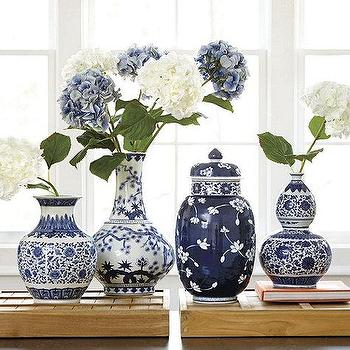 Decor/Accessories - Blue and White Porcelain Vases | Ballard Designs - blue and white vase, blue and white gourd shaped vase, blue and white lidded vase, blue and white lidded jar,