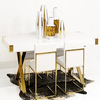 Tables - Jet Setter Dining Table | ModShop - brass x leg dining table, brass dining table with white top, brass and white lacquer dining table, brass dining table with white lacquer top,