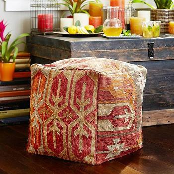 Seating - Surrey Kilim Indoor/Outdoor Cube | Pottery Barn - kilim pouf, square kilim pouf, red kilim pouf,