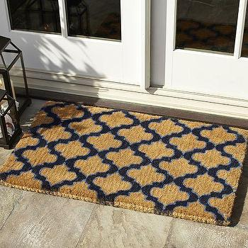 Rugs - Ogee Doormat | Pottery Barn - navy coir mat, geometric navy coir mat, moroccan tile door mat, geometric navy door mat,