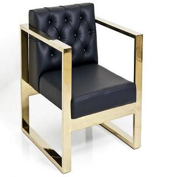 Seating - Brass Kube Chair Black Faux Leather | ModShop - brass u leg chair, modern brass framed chair, brass framed black leather chair, tufted leather chair with brass frame,