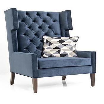 Seating - Tangier Wing Chair in Mystere Eclipse Velvet | ModShop - navy blue velvet chair, blue velvet tufted chair, modern velvet tufted chair, blue velvet tufted wingchair,