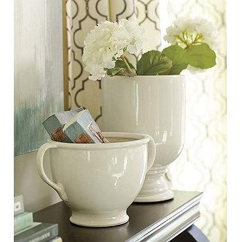 Decor/Accessories - Whitney Ceramic Vessels | Ballard Designs - white ceramic urn, white ceramic vessel, white ceramic vase,