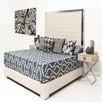 Beds/Headboards - Trousdale Bed | ModShop - mirror framed headboard, mirror trimmed headboard, tufted mirror headboard, tufted mirror framed headboard,