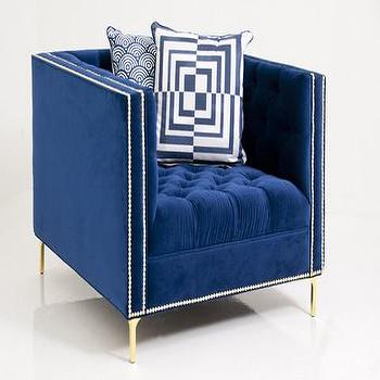 Seating - New Deep Chair | ModShop - blue velvet tufted chair, blue velvet nailhead trimmed chair, modern navy velvet chair, navy blue velvet tufted chair,