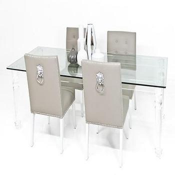 Tables - Beverly Hills Lucite and Glass Dining Table | ModShop - lucite and glass dining table, modern lucite and glass dining table, glass dining table with lucite legs, see through dining table,