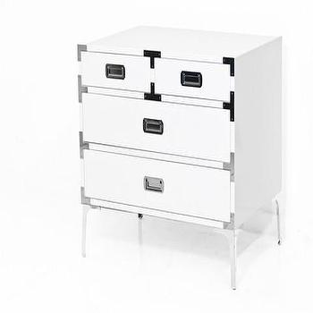 Storage Furniture - Jet Setter Side Table in Chrome | ModShop - modern white lacquered side table, white campaign side table, modern campaign furniture, white side table with campaign hardware, white lacquer and chrome side table,