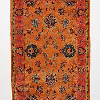 Rugs - Laurette Rug I anthropologie.com - red and orange traditional style rug, red and orange persian style rug, rust colored persian style rug,