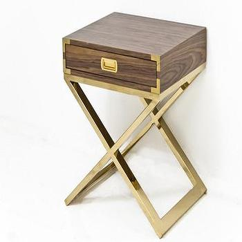 Storage Furniture - Jet Setter X-Base Side Table in Walnut | ModShop - brass based campaign side table, modern campaign side table, walnut and brass campaign side table, walnut side table with brass base, brass x base side table,
