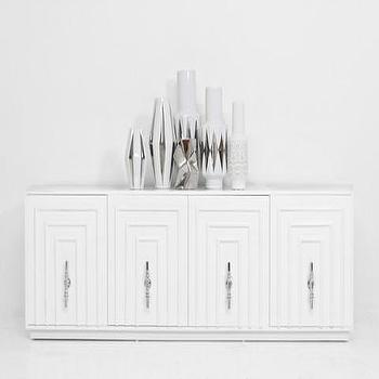 Storage Furniture - Art Deco Credenza | ModShop - art deco style credenza, modern white credenza, glossy white credenza, trellis front credenza,