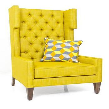 Seating - Tangier Wing Chair in Old Gold Linen | ModShop - modern yellow wing chair, yellow tufted wing chair, yellow button tufted wing chair,