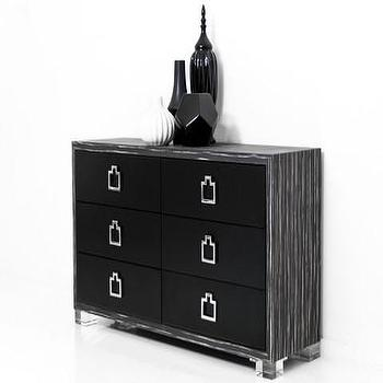 Storage Furniture - Brixton Dresser in Black & White Macassar | ModShop - black and white macassar dresser, modern black dresser, black dresser with chrome pulls, modern black and chrome dresser,