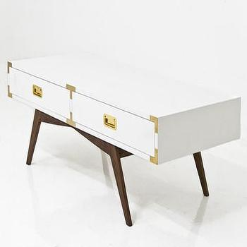 Tables - Jet Setter Coffee Table | ModShop - modern campaign coffee table, white lacquer and brass coffee table, coffee table with campaign hardware, white campaign coffee table,