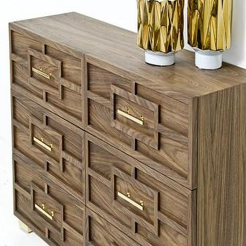 Storage Furniture - St. Tropez Dresser in Walnut | ModShop - modern walnut dresser, geometric walnut dresser, walnut dresser with geometric molding, walnut dresser with brass trim,