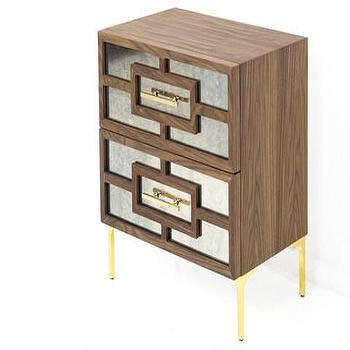 Storage Furniture - St. Tropez Antique Mirrored Walnut Side Table | ModShop - modern mirror front side table, geometric mirror front side table, walnut mirror front side table, walnut side table with brass trim,