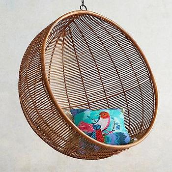 Seating - Rattan Hanging Chair I anthropologie.com - rattan hanging chair, round rattan hanging chair, modern rattan hanging chair,