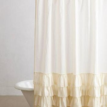 Bath - Aberdeen Shower Curtain I anthropologie.com - cream ruffle shower curtain, cream ruffled shower curtain, cream shabby chic shower curtain,