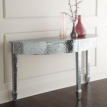 Tables - Mercia Glass Console I Horchow - silver demi lune console, mercury glass console table, tiled mercury glass console,