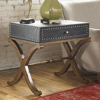 Storage Furniture - Lok Accent Table I Horchow - x base accent table, x base trunk side table, trunk style side table,