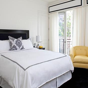 Black and Yellow Bedroom, Hollywood Regency, bedroom, Smith Firestone Associates