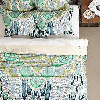 Bedding - Mara Hoffman Duvet I anthropologie.com - aqua blue and green patterned duvet, aqua blue and chartreuse bedding, modern feather patterned bedding, feathered patterned duvet,