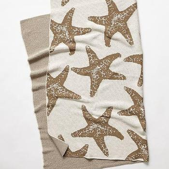 Bedding - Starfish Throw I anthropologie.com - starfish throw, khaki starfish throw, starfish patterned throw,