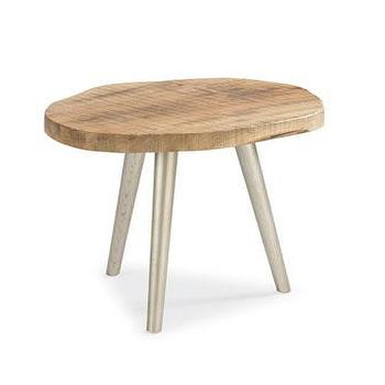 Tables - Organic End Table I Horchow - wood topped tripod table, rustic tripod table, wood and steel tripod table,