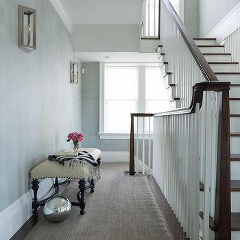Alisberg Parker Architects - entrances/foyers - hall runner, second floor landing, second floor landing ideas, 2nd floor landing, grass cloth, blue gray grasscloth, nickel and glass sconces, hall bench, hallway bench, black bench, black and cream bench, taupe hall runner,