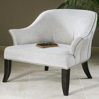 Seating - Leisa Armchair I Horchow - white flared armchair, white armchair with splayed leg, white nailhead trim armchair,