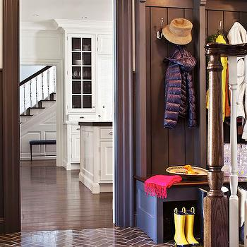 Alisberg Parker Architects - laundry/mud rooms - mudroom, mudroom ideas, brown mudroom, brown mudroom cabinets, brown cabinets, mudroom lockers, mudroom bench, brown tiles, brown herringbone tiles, brown herringbone floor,