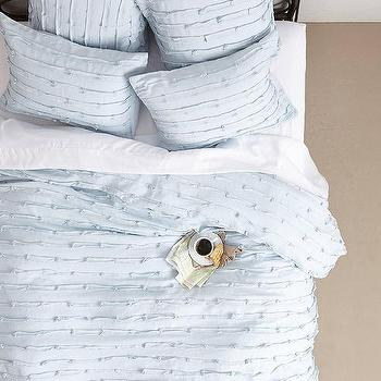 Bedding - Spliced Linen Duvet I anthropologie.com - ice blue linen duvet, light blue linen duvet, spliced linen duvet, spliced linen bedding,