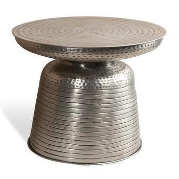 Tables - Hagen Side Table I Horchow - hammered metal side table, hammered metal drum table, hammered silver accent table,