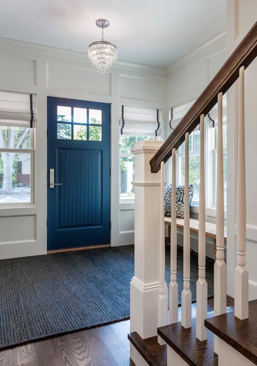 Blue Foyer Door : Beadboard door transitional entrance foyer peterssen