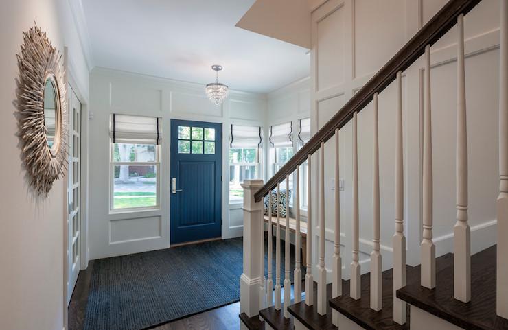 Blue Foyer Door : Blue front door transitional entrance foyer