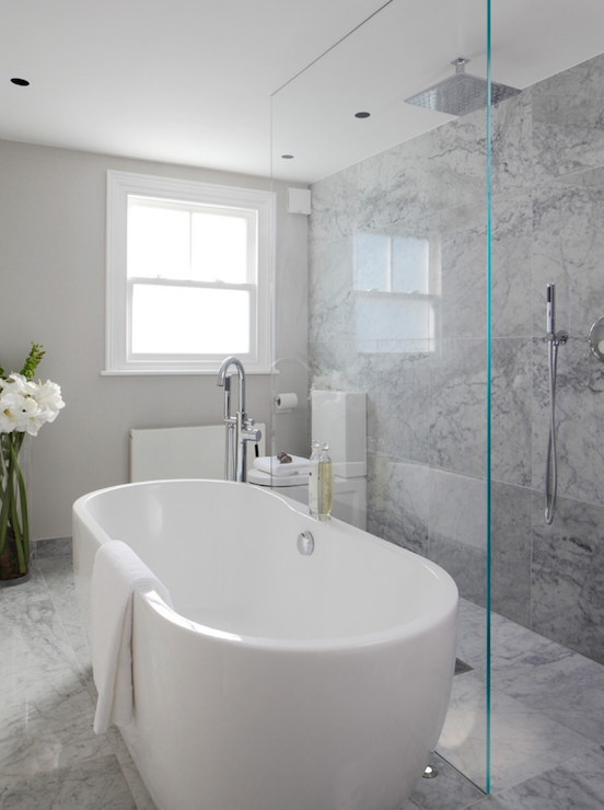 Open shower ideas modern bathroom laura hammett for Open shower bathroom