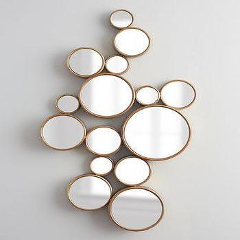 Mirrors - Bubbles Mirror I Horchow - gold bubble mirror, gold circles mirror, bubbles mirror,