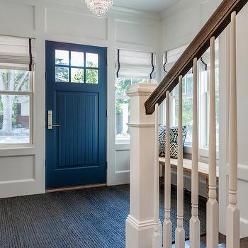 Peterssen Keller Architecture - entrances/foyers - blue door, blue front door, beadboard door, beadboard front door, white and navy roman shades, navy grosgrain roman shades, grosgrain roman shades, entry, foyer ideas, foyer bench, blue rug, foyer lighting, foyer chandeliers, foyer, entry ideas,