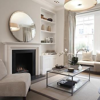 Mirror Over Fireplace, Contemporary, living room, Laura Hammett