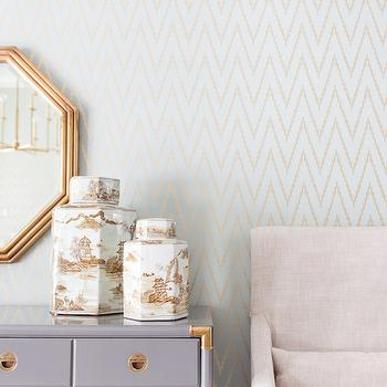 Alexis Bednyak Design - dining rooms - ikat wallpaper, gold mirror, hex mirror, gold hex mirror, gold hexagon mirror, gray cabinet, gray credenza, gray buffet cabinet, chinoiserie jars, dining room wallpaper, blue and gold wallpaper,