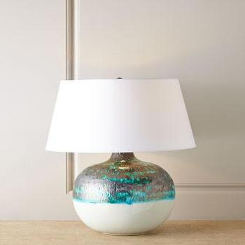 Lighting - Arteriors Hemby Lamp I Horchow - blue and green lamp, blue and green glazed lamp, blue and white glazed lamp,