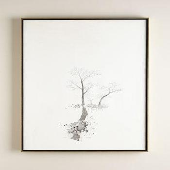 Art/Wall Decor - John-Richard Collection Triad Oil Painting I Horchow - negative space tree painting, monochromatic tree art, monochromatic tree oil painting,