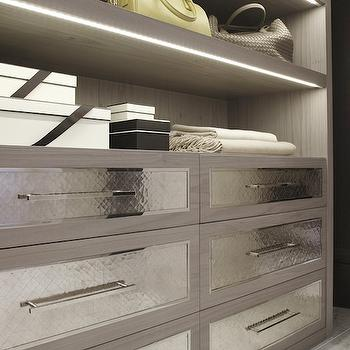 Laura Hammett - closets - contemporary dressing room, contemporary closets, hammered metal drawers, hammered metal drawer fronts, floor to ceiling built ins, shelves for shoes show shelves, bag shelves, handbag shelves,
