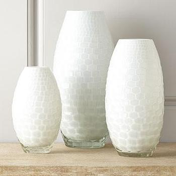 Decor/Accessories - Ombari Honeycomb Vases I Horchow - white honeycomb vase, white hex patterned vase, honeycomb patterned vase,